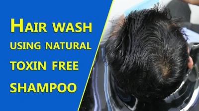 Hair wash using natural toxin free shampoo